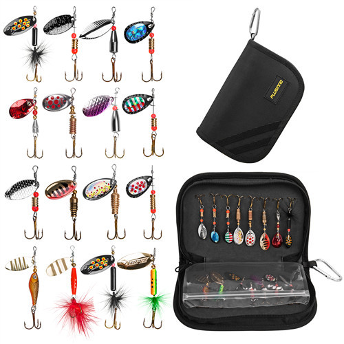 PLUSINNO  16pcs Fishing Lures for Bass Spinner Lures with Portable Carry Bag