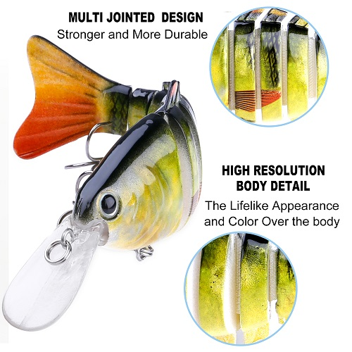 PLUSINNO Fishing Lures for Bass Trout - with carry bag (4.4inch)RT