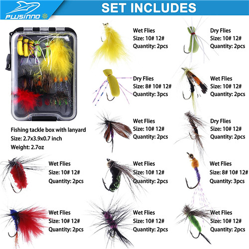 PLUSINNO Fly Fishing Flies Kit, 26Pcs Handmade Fly Fishing Gear