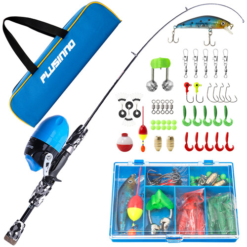 PLUSINNO SD- Kids Black Fishing Pole with Spincast Reel and Bag