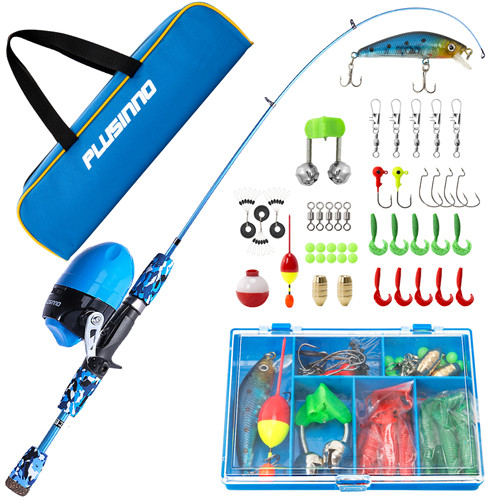 PLUSINNO SD- Kids Blue Fishing Pole with Spincast Reel and Bag