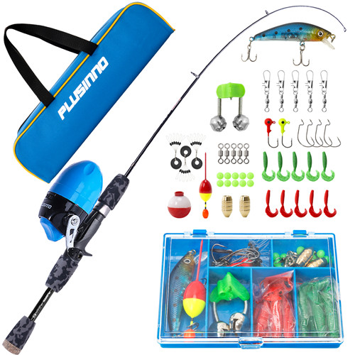 PLUSINNO SD- Kids Grey Fishing Pole with Spincast Reel and Bag
