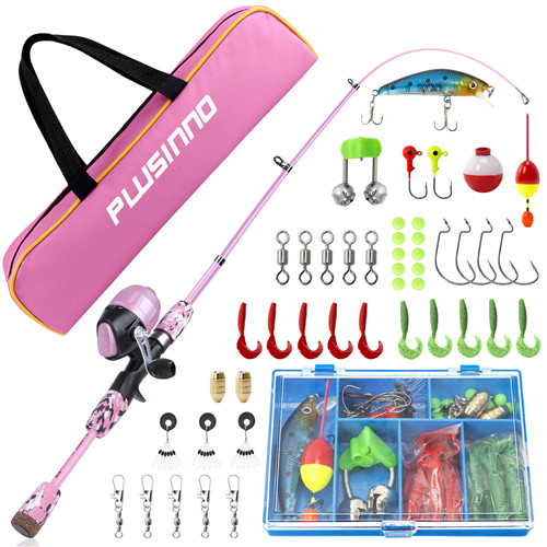 PLUSINNO SD- Kids Pink Fishing Pole with Spincast Reel and Bag