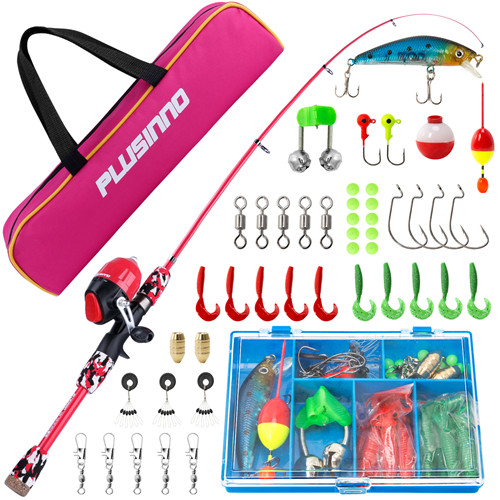 PLUSINNO SD- Kids Red Fishing Pole with Spincast Reel and Bag